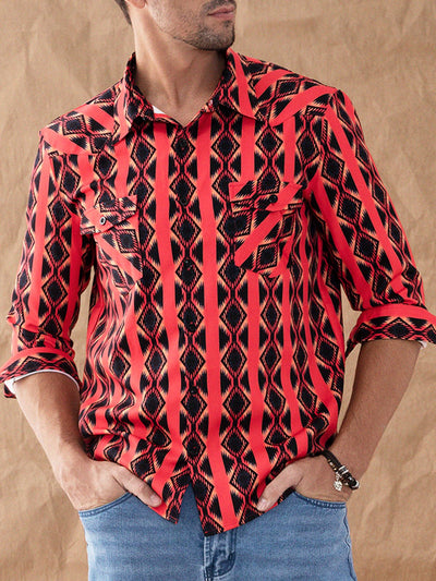 Red Casual Shirt Collar Shirts & Tops