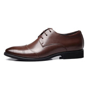 Men Pure Color Leather Cap Toe Slip Resistant Business Casual Formal Shoes