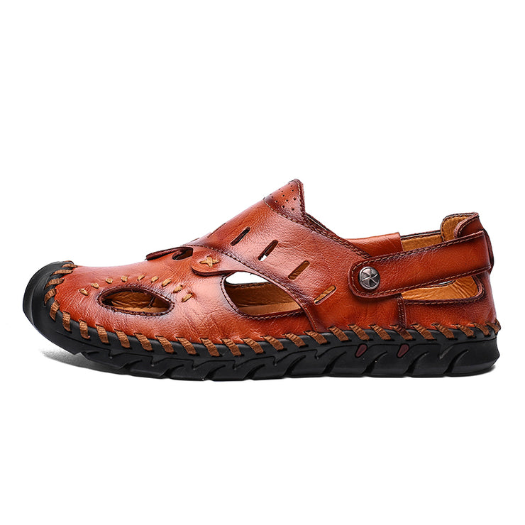 Men Cow Leather Hand Stitching Non Slip Large Size Soft Sole Sandals