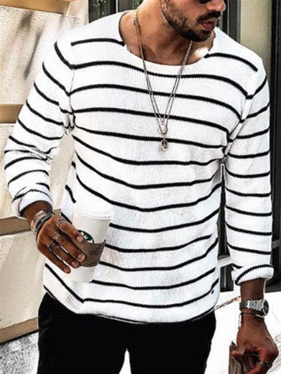 Mens Fashion Striped Contrast Round Neck Sweater