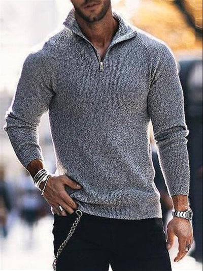 Stand Collar Casual Wool Blend Solid Sweater