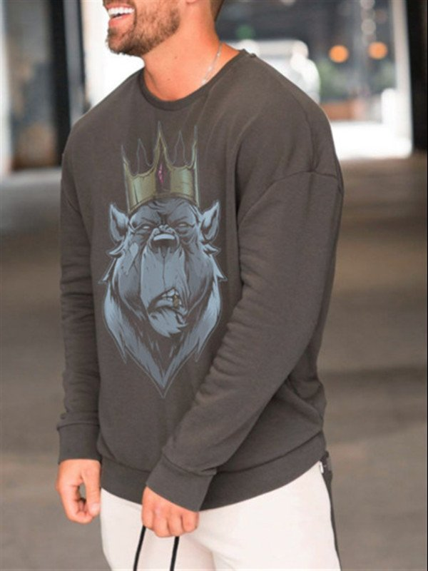 Round Neck Basic Men's Fashion Print Sweatshirt