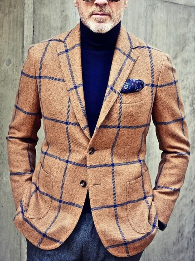 Khaki Vintage Plaid Lapel Outerwear