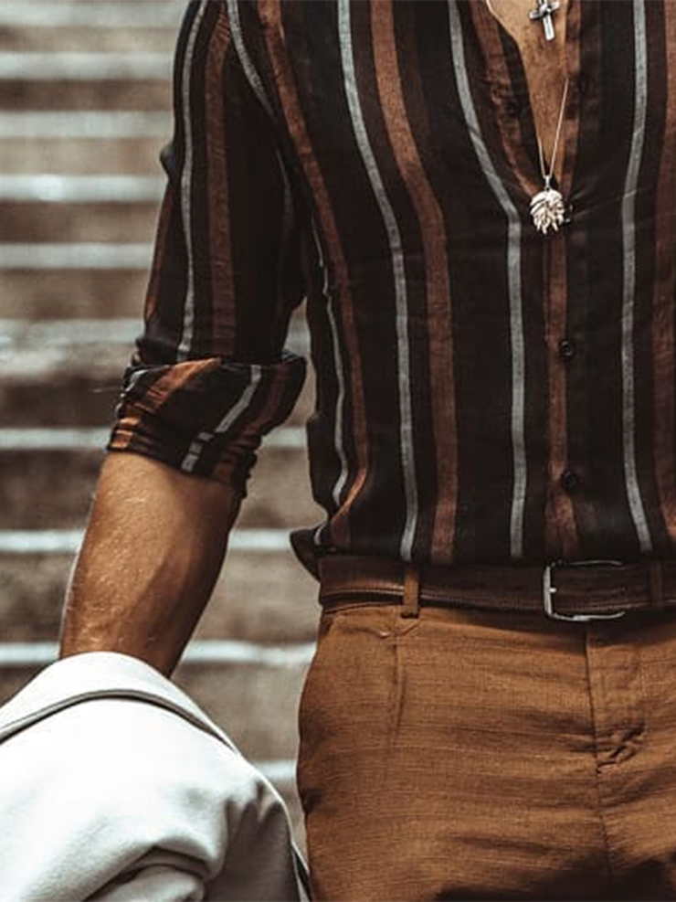 Brown Striped Casual Shirts & Tops
