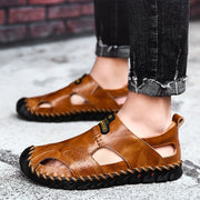 Men Hand Stitching Closed Toe Soft Hole Leather Sandals