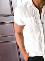 White Linen Casual Plain Shirt Collar Shirts & Tops