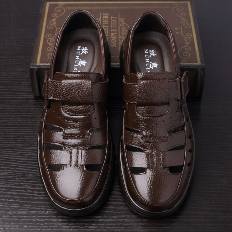 Men Non Slip Hollow Out Casual Leather Shoes