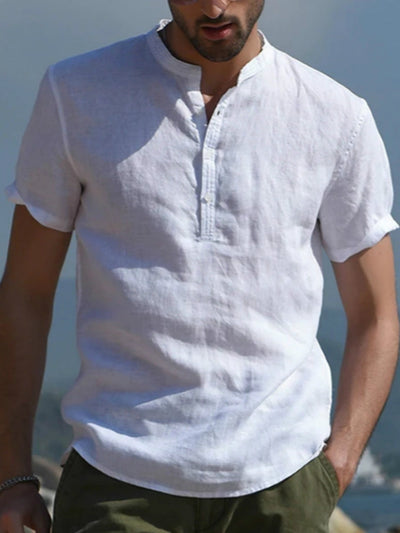 White V Neck Cotton Casual Shirts & Tops