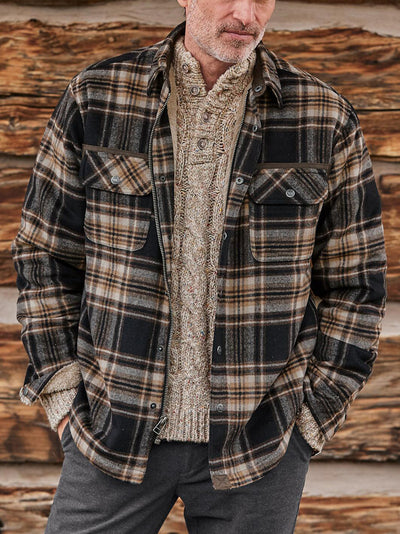 Khaki Plaid Casual Printed Cotton-Blend Outerwear