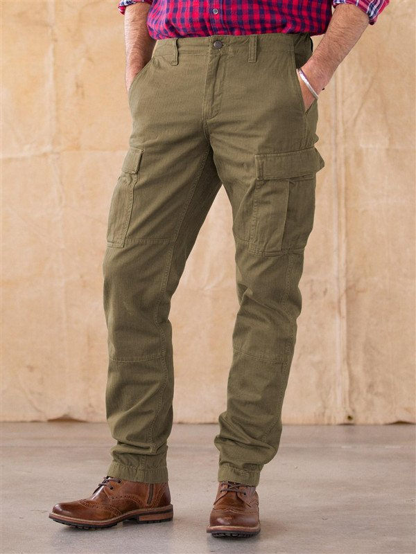 Army Green Pockets Casual Solid Cotton-Blend Pants