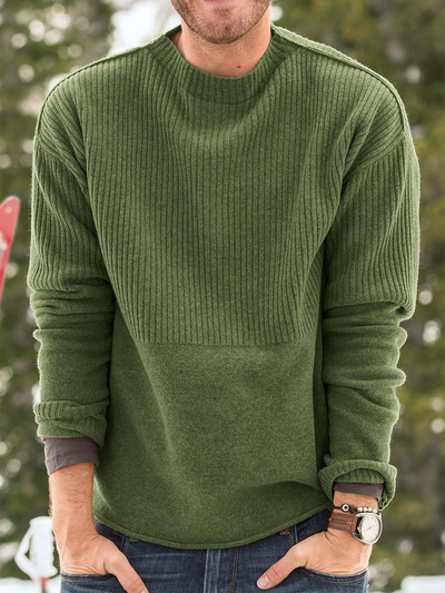Green Crew Neck Cotton-Blend Sweater