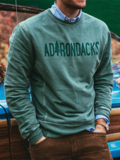 Green Casual Crew Neck Letter Sweatshirt