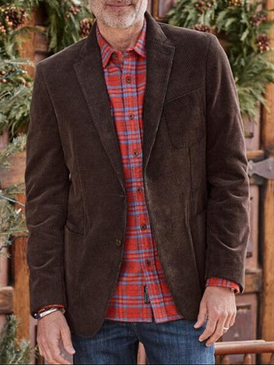 Brown Casual Lapel Outerwear