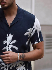 Navy Blue Coconut Tree Casual Shirts & Tops