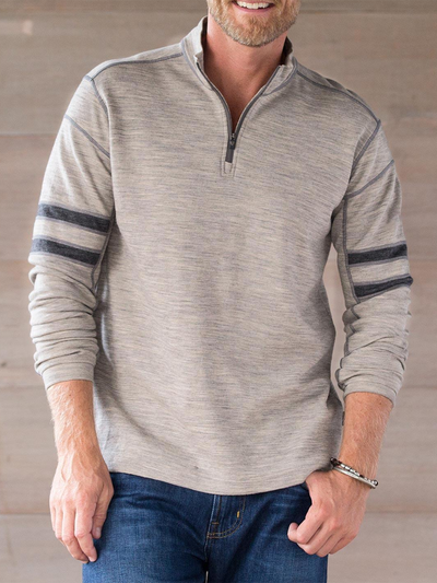 Stand Collar Striped Sweatshirt