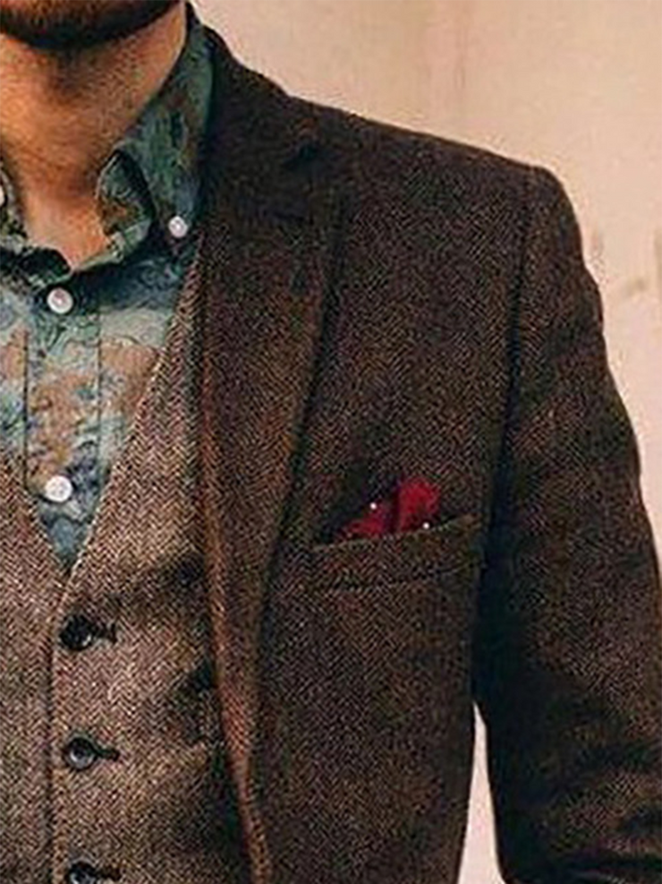 Brown Casual Plain Lapel Wool Blend Outerwear