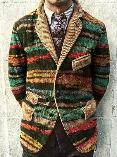 Green Corduroy Stripes Lapel Casual Outerwear