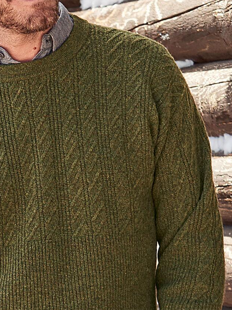 Green Casual Crew Neck Sweater