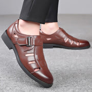 Men Woven Style Comfy Breathable Hook Loop Hole Leather Sandals