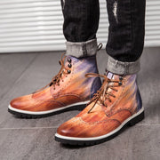 Men Carved Comfy Slip Resistant Casual Brogue Formal Ankle Boots