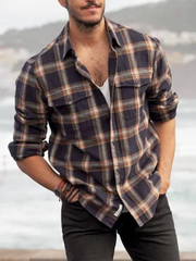 Brown Paneled Cotton-Blend Casual Shirts & Tops