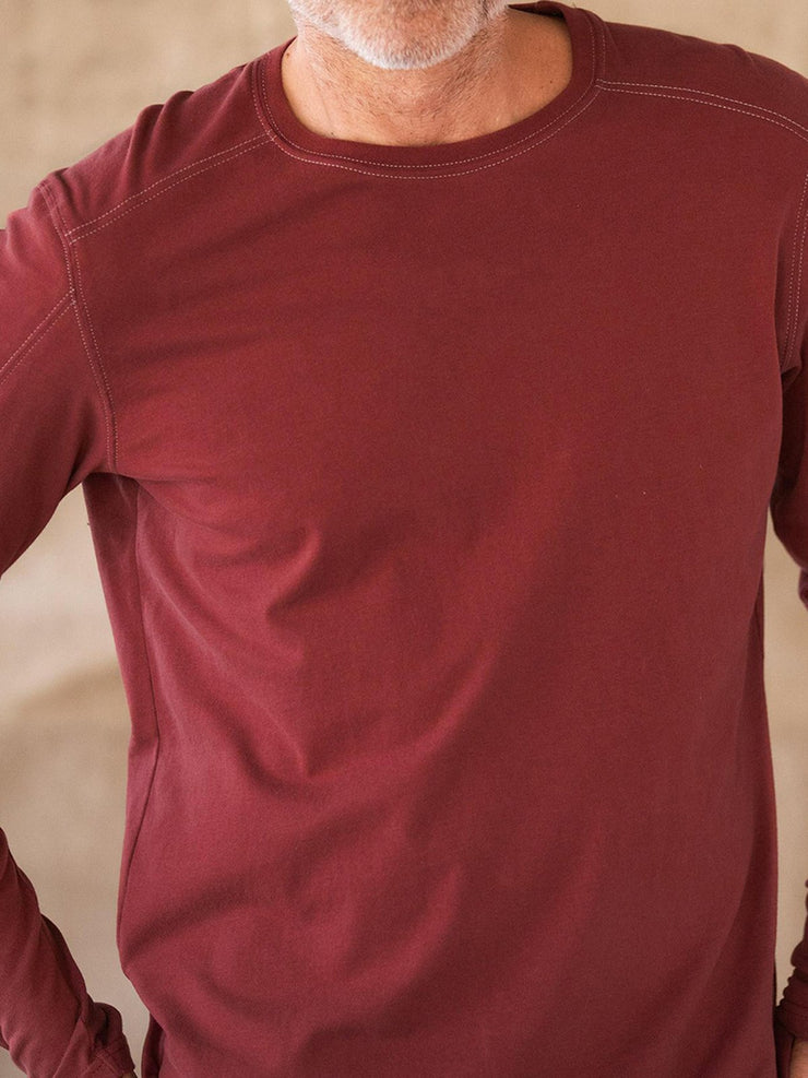 Men's Red Basic Cotton-Blend Shirts