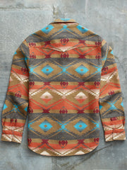 Men's Orange Tribal Corduroy Casual Shirts