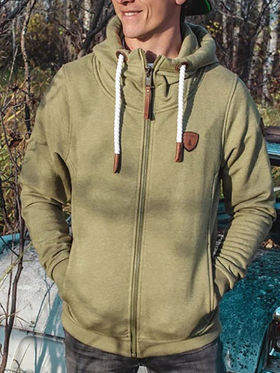 Green Zipper Hoodie Basic Sweatshirt