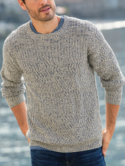 Gray Cotton-Blend Casual Sweater