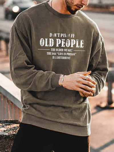 Letter Cotton-Blend Street Wear Men's Fashion Print Sweatshirt