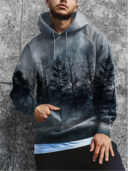Men's fashion night sky forest print hooded casual sweater