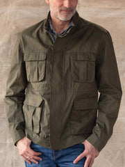 Men's Army Green Solid Casual Cotton Jackets