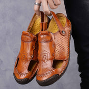 Men Hand Stitching Non Slip Hollow Out Soft Sole Casual Leather Sandals