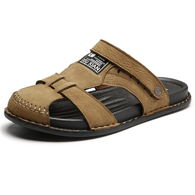 Men Leather Hollow Out Breathable Hook Loop Toe Covering Beach Sandals