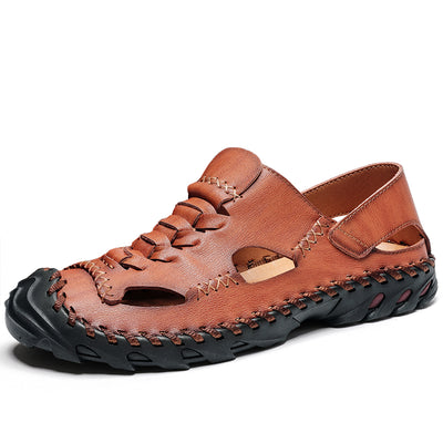 Men Hand sewing leather slip resistant hollow casual sandals