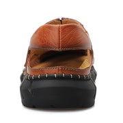 Men Genuine Leather Hand Stitching Collapsible Heel Slip On Casual Sandals