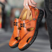 Men Hand Stitching Outdoor Toe Protective Slip Resiatnt Leather Sandals