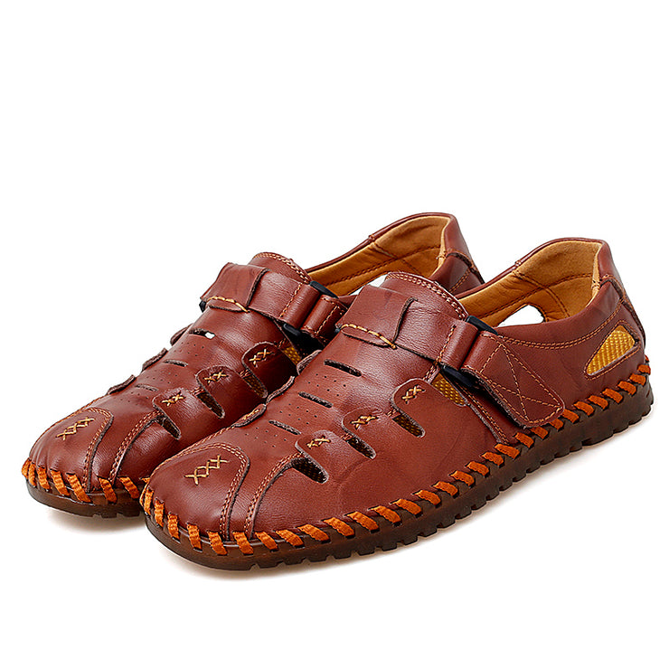 Men Leather Hook Loop Non Slip Casual Soft Hole Sandals
