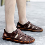 Men Leather Non Slip Elastic Lace Soft Sole Outdoor Casual Sandals
