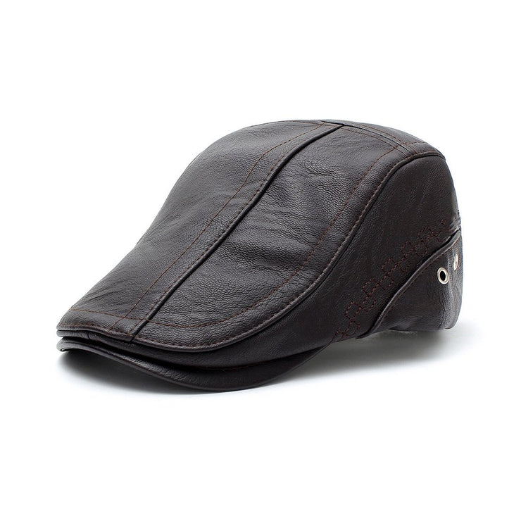 Men's plus size PU embroidered beret