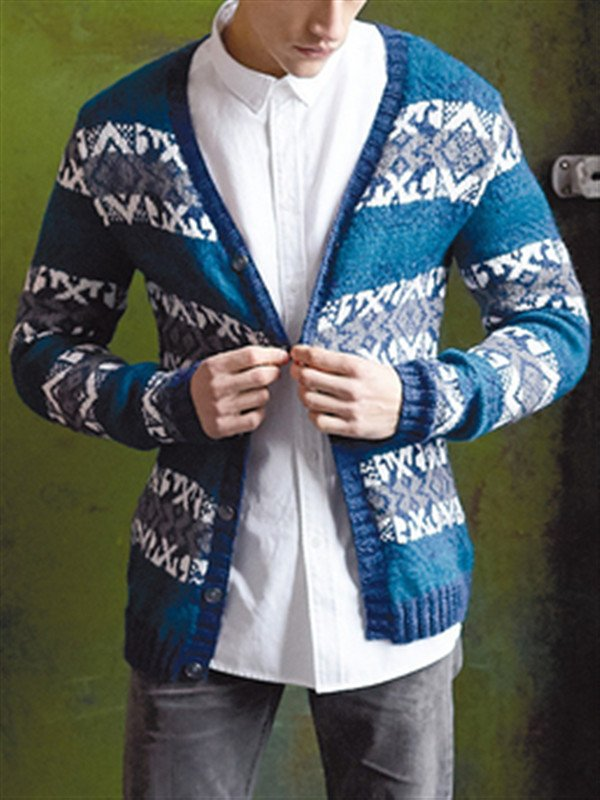 Blue Casual Acrylic Sweater