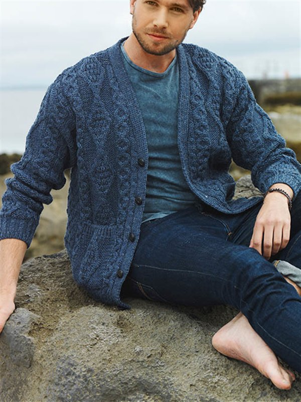 Navy Blue V Neck Casual Sweater