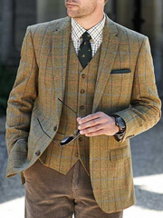 Khaki Vintage Lapel Plaid Outerwear