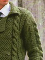 Green Vintage Shawl Neck Sweater