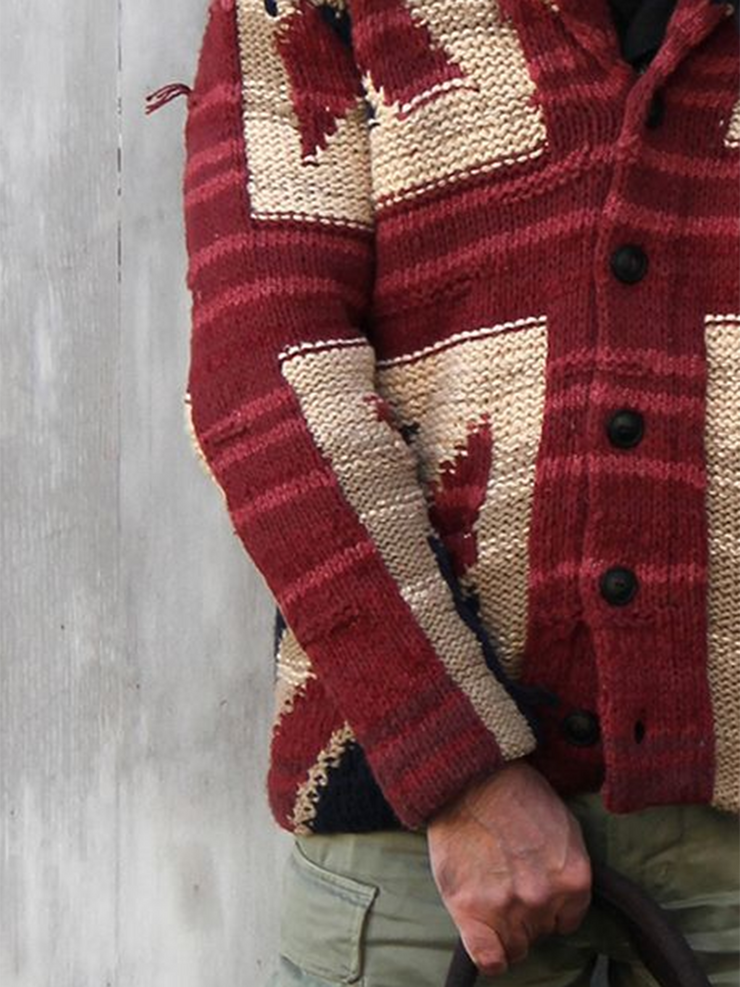 Red Casual Geometric Shawl Neck Sweater