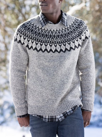 Fair Isle Sweater Tribal Crew Neck Casual Sweater
