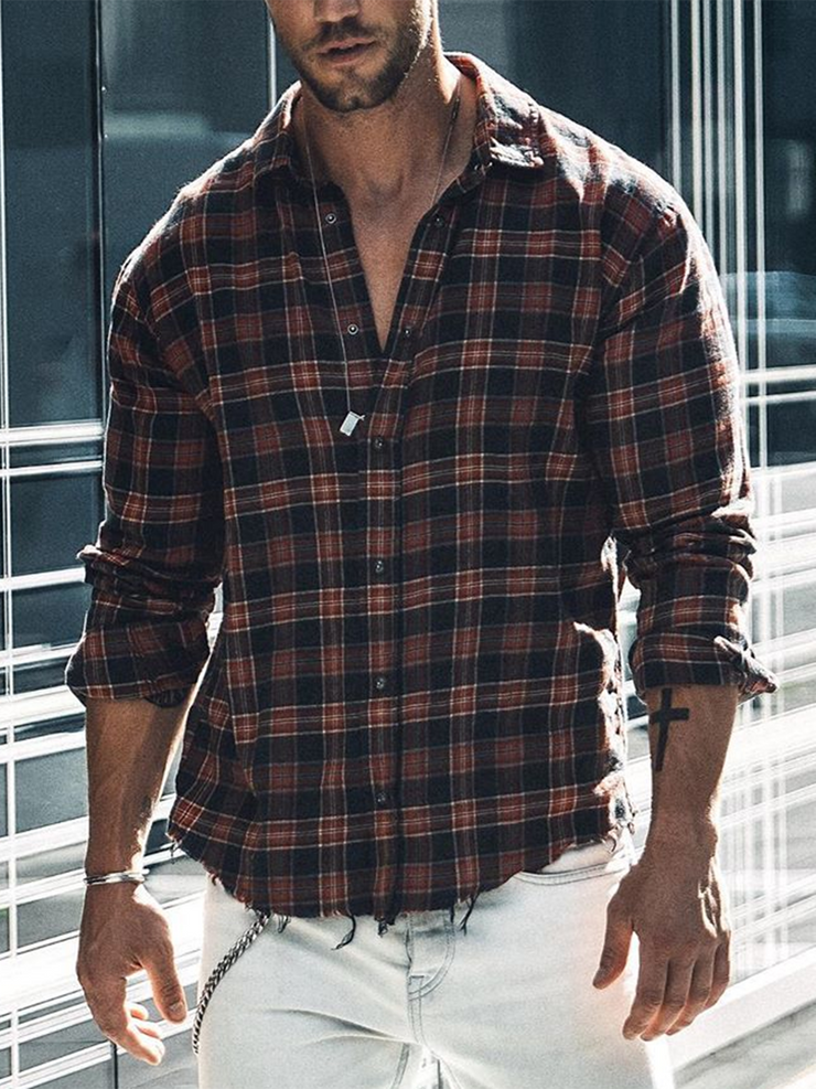 Red Cotton-Blend Plaid Shirt Collar Casual Shirts & Tops