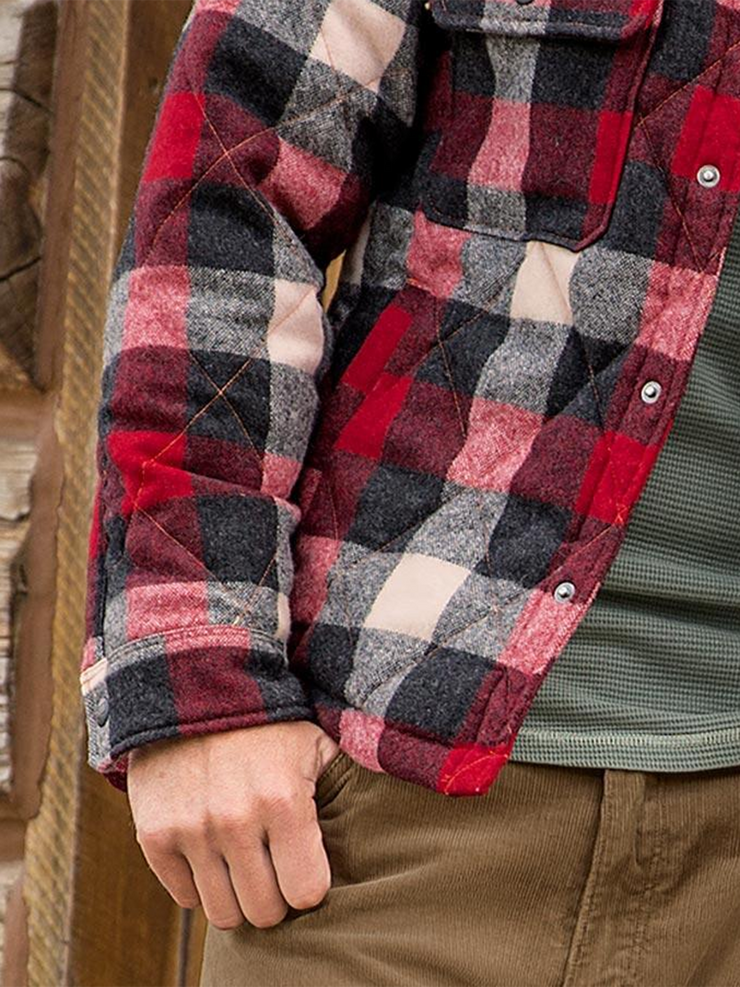 Red Shirt Collar Plaid Casual Shirts & Tops