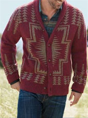 Wine Red Knitted V Neck Casual Outerwear
