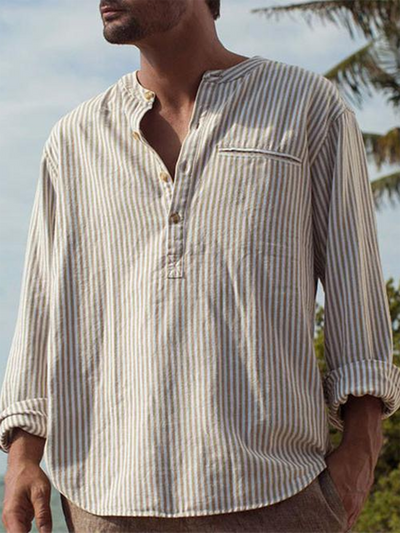 Khaki Crew Neck Casual Linen Striped Shirts & Tops